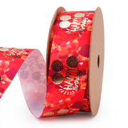 25 millimeter orange and red satin ribbon printed with gold foil text
