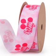 25 millimeter pink happy birthday printed ribbon