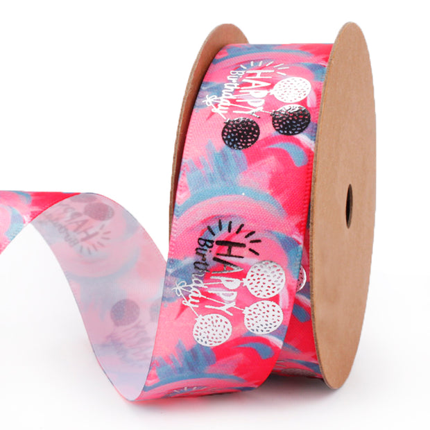 25mm Pink/Silver Satin Happy Birthday Printed Ribbon