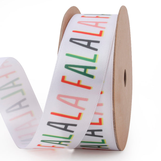 "25mm White/Multi ""Falalalala"" Printed Satin Ribbon"