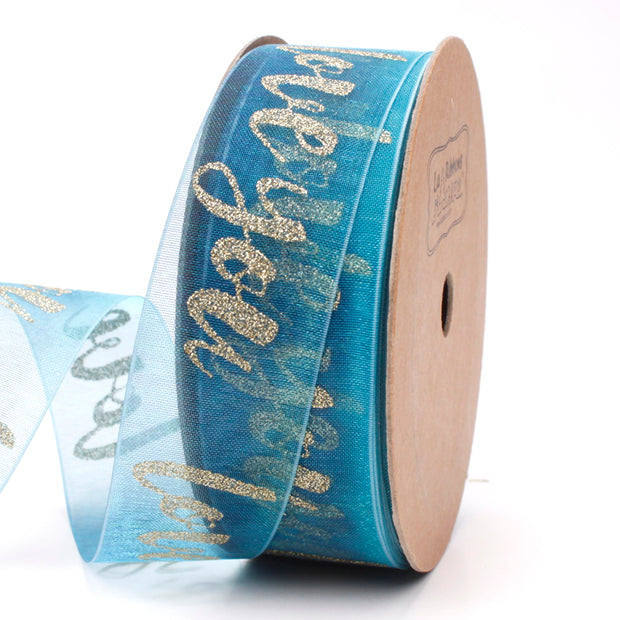 25 millimeter teal and gold glitter printed organza ribbon
