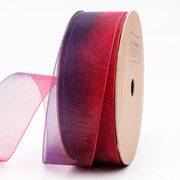 LaRibbons 25mm Purple/Red Ombre Organza Ribbon