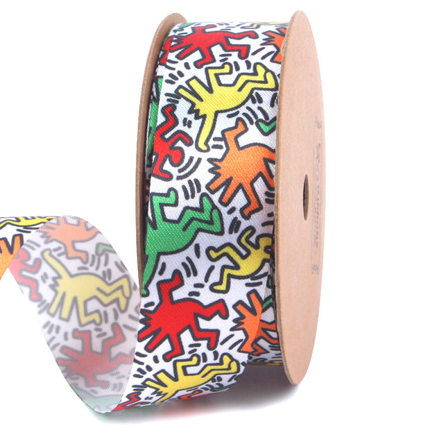 25 millimeter abstract multi color graffiti style printed satin ribbon