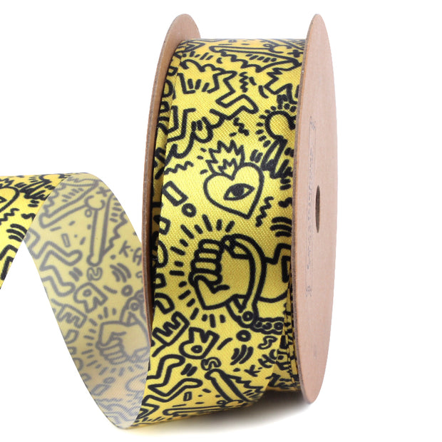 25 millimeter yellow and black abstract graffiti printed satin ribbon