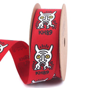 25 millimeter red and white abstract graffiti style grosgrain ribbon