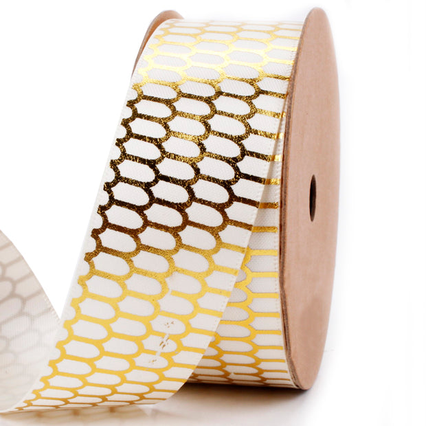 28 millimeter white and gold geometric ribbon