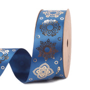 28 millimeter Blue and Gold Motif Metallic Printed Satin Ribbon
