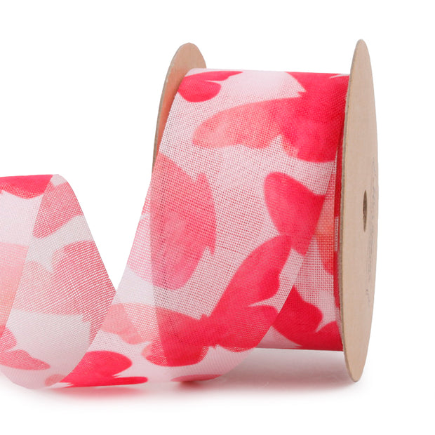 38 millimeter pink and red butterfly print mesh ribbon