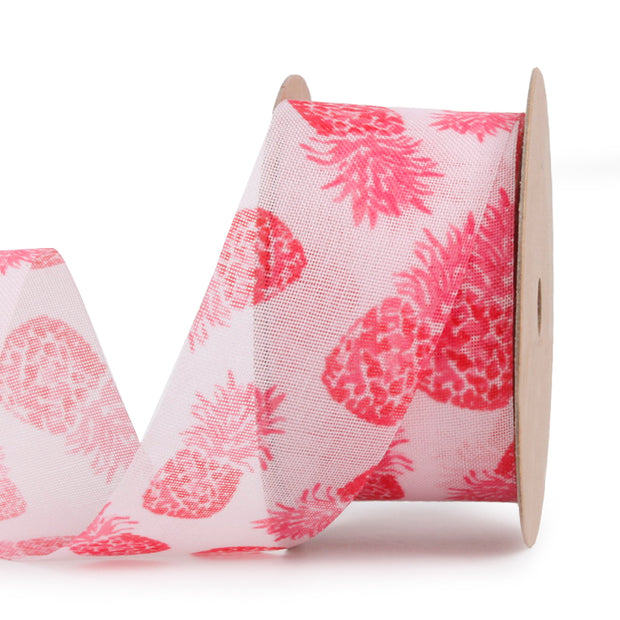 38 millimeter pink and red pineapple printed mesh ribbon