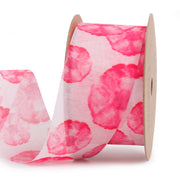 38 millimeter pink and red poppy flower print mesh ribbon