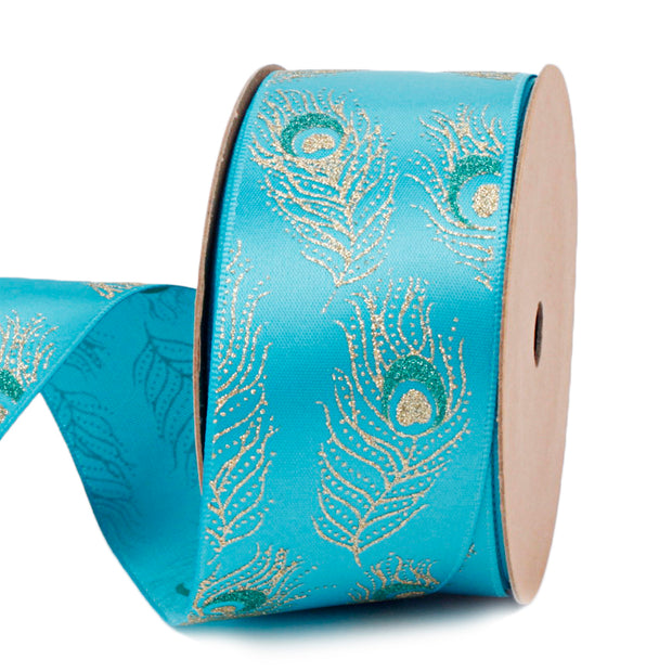 38 millimeter teal and gold peacock printed satin ribbon