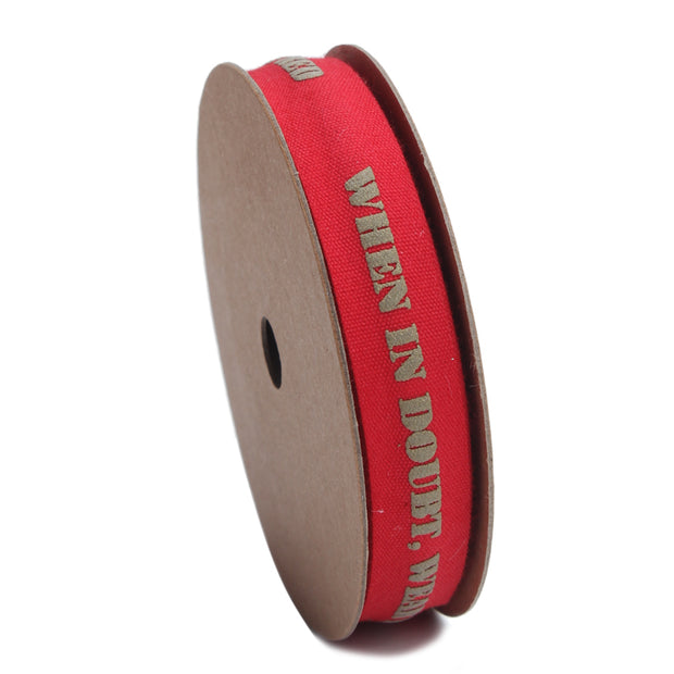 15 millimeter red satin ribbon printed with text