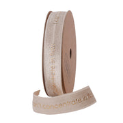 16 millimeter taupe and gold text printed satin ribbon