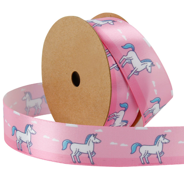 1 inch pink satin printed unicorn ribbon