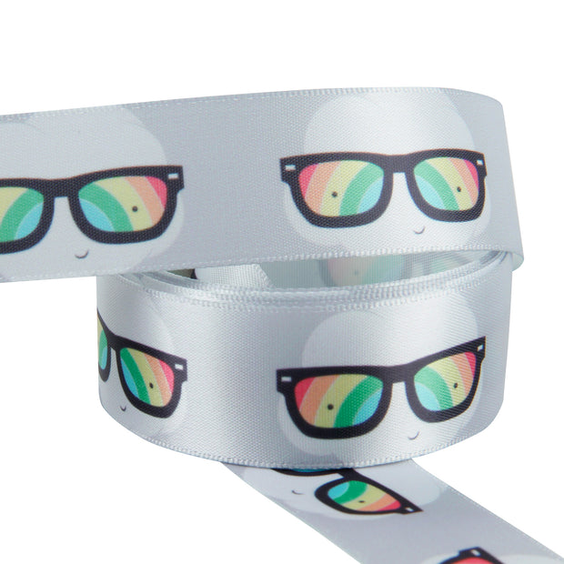 "1"" Wide Rainbow/Gray Glasses Satin Ribbon"
