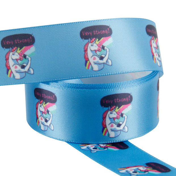 Blue satin ribbon printed with a cute unicorn flexing muscles unrolled