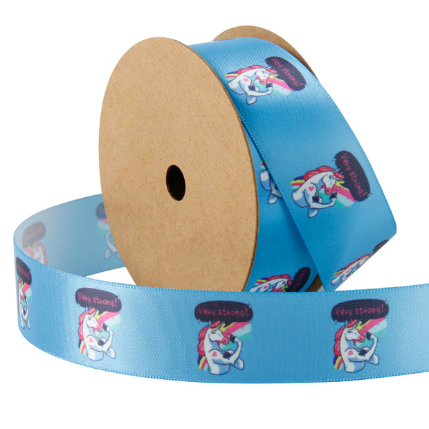 Blue satin ribbon printed with a cute unicorn flexing muscles