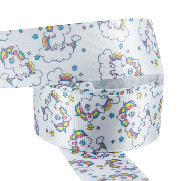 "1"" Wide Rainbow Clouds and Unicorn White Satin Ribbon"