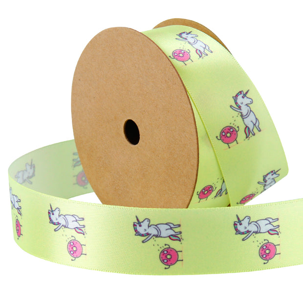 "1"" Wide Rainbow Unicorn and Donuts Yellow Satin Ribbon"