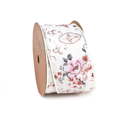 40 millimeter Ivory Victorian Floral Ribbon