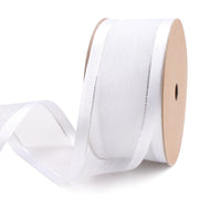 38 millimeter white and silver sheer stripe satin ribbon