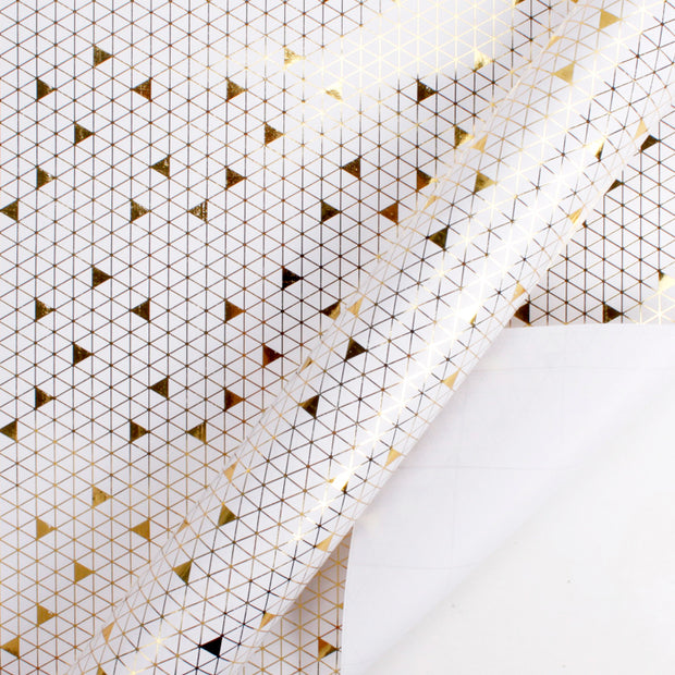 White and gold foil triangle printed wrapping paper roll