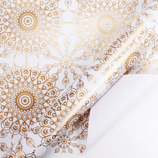 White and gold foil geometric wrapping paper roll