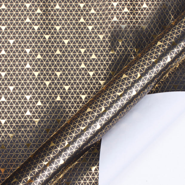 Black and gold foil triangle printed wrapping paper roll