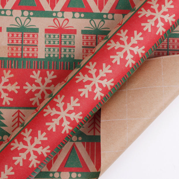 Red knit style kraft wrapping paper with snowflakes and gift boxes