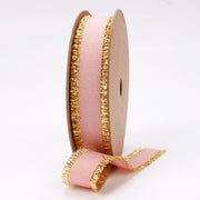 Pink Gold Metallic Edge Grosgrain Ribbon