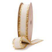 White Gold Metallic Edge Grosgrain Ribbon