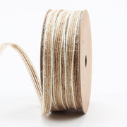 6mm Natural/White Jute Striped Trim Ribbon
