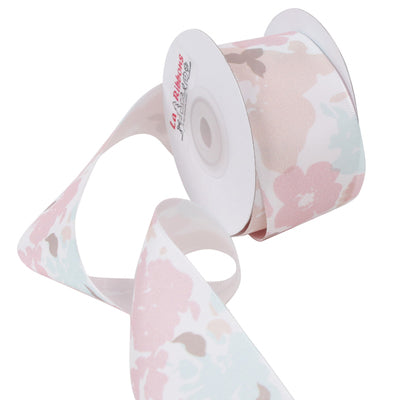 38 millimeter White and pastel Floral Printed Ribbon