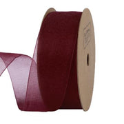 25 millimeter wine red organza ribbon