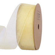 25 millimeter light yellow organza ribbon