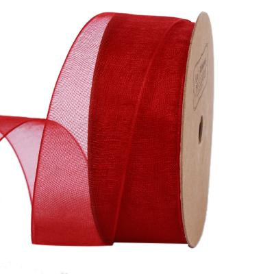 25 millimeter red organza ribbon