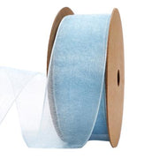 25 millimeter white blue organza ribbon