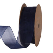 25 millimeter navy blue organza ribbon