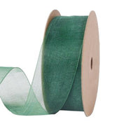 25 millimeter dark green organza ribbon