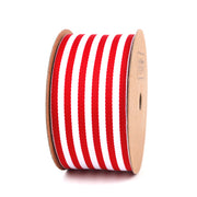 LaRibbons 38mm Striped Ribbon Red/White