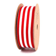 25 millimeter Red and White Striped Ribbon