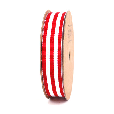 16 millimeter Red and White Striped Ribbon
