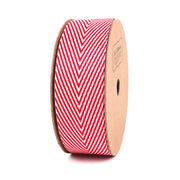 25mm Red and White Twill pinstripe Ribbon