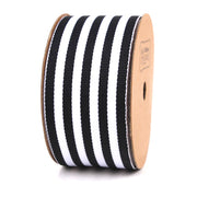 38 millimeter Black and White Striped Ribbon