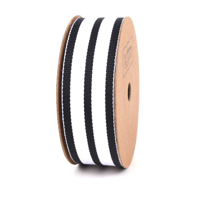 25 millimeter black and white twill stripe ribbon