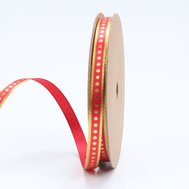 6 millimeter red and gold metallic dot printed ribbon