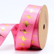 LaRibbons 25mm Rose/Gold Metallic Fantasy Flamingo Printed Ribbon