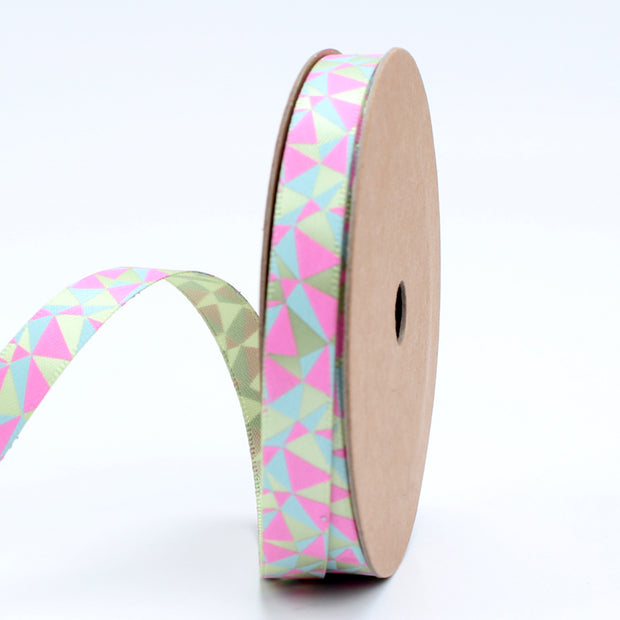 9 millimeter pink, green and blue geometric triangle print ribbon