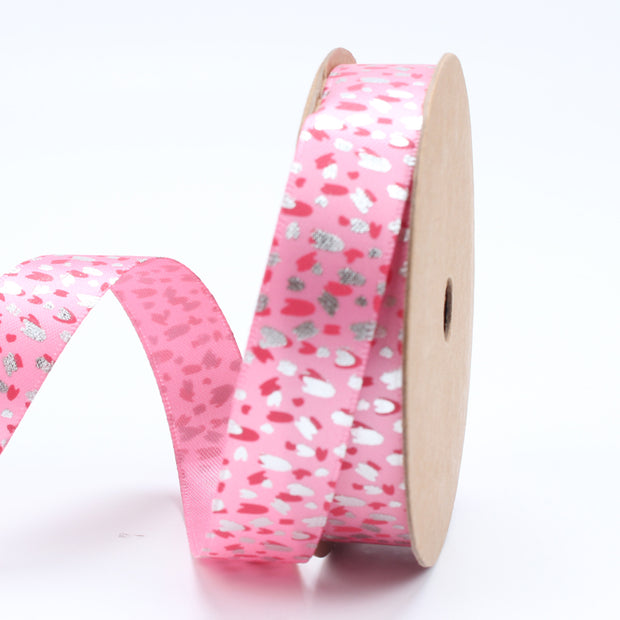 16 millimeter rose and silver color metallic confetti printed ribbon
