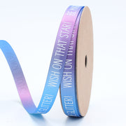 "LaRibbons 9mm ""You Can Do This"" Printed Satin Ribbon Blue/Purple Multi"